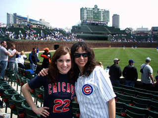 At Wrigley Field (one of my favorite places to visit) with one of my daughters.
